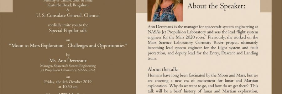 """Special Popular Talk on """"MOON TO MARS EXPLORATION : CHALLENGES AND OPPURTUNITIES"""" by Ms. Ann Devereaux ,Manager, Spacecraft System Engineering, Jet Propulsion Laboratory, NASA , USA"""